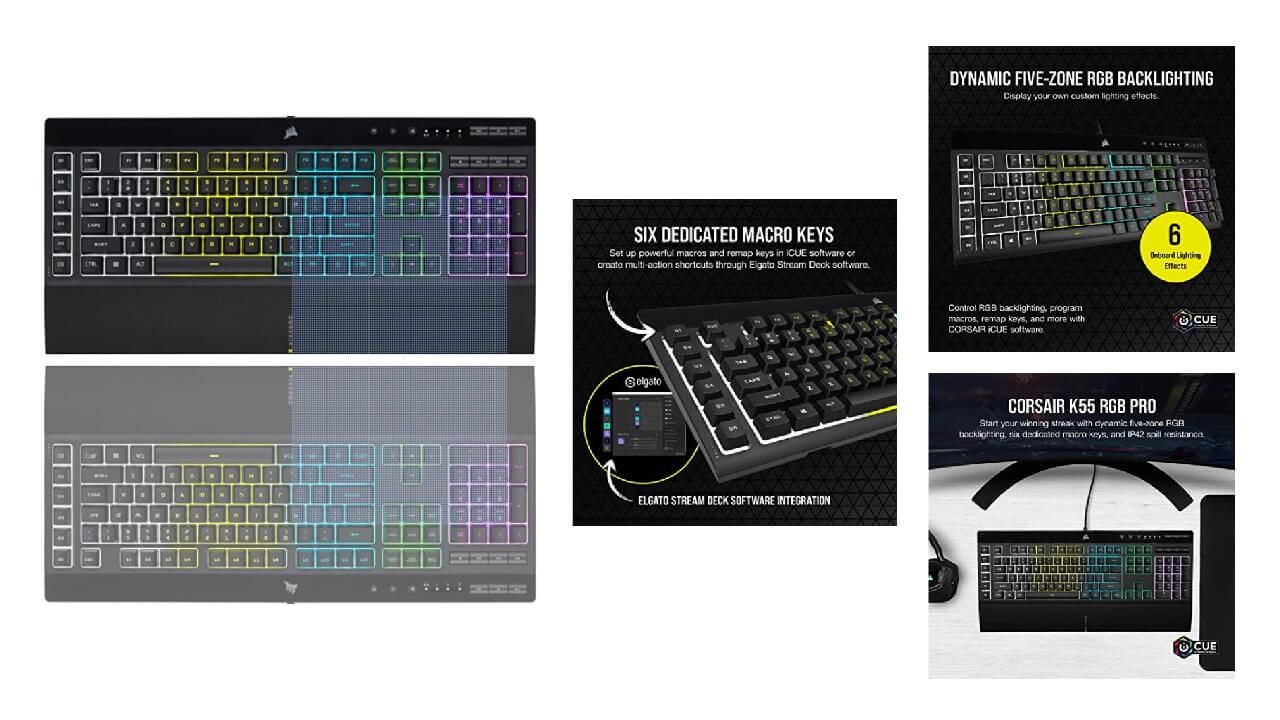 Corsair K55 RGB Pro Dynamic backlight Keyboard